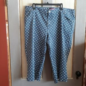 Woman Within faded denim capris with polka dots